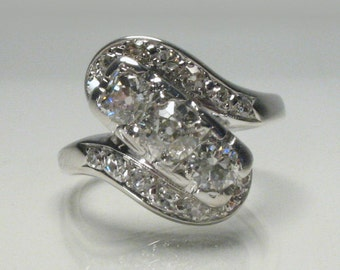 Vintage Antique Old European Cut Diamond Ring - 0.98 Carats Diamond Total Weight - Engagement Ring - Appraisal Included