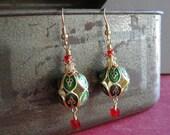 Gorgeous Christmas Cloisonne and Swarovski Crystal Bead Earrings
