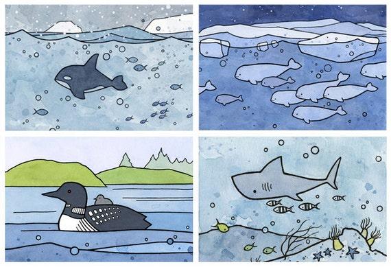 Choose 3 Mini Prints, whimsical animal illustrations