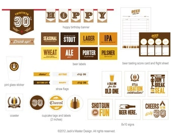 30th Birthday Beer Tasting Party Printables