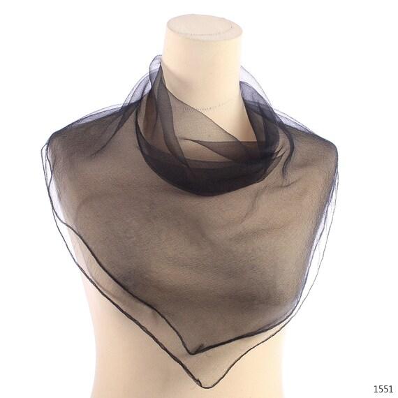 Sheer Neck Scarf . 60s Black Nylon Scarf . Transparent Vintage Scarf