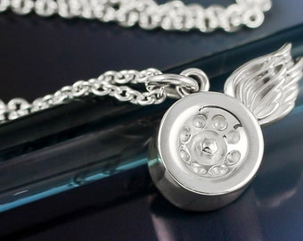 Silver Large Roller Skate Wheel Necklace