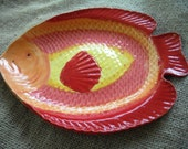 Red and Yellow Fish Plate - Coastal Kitchen Accessory - Nautical Themed Plate
