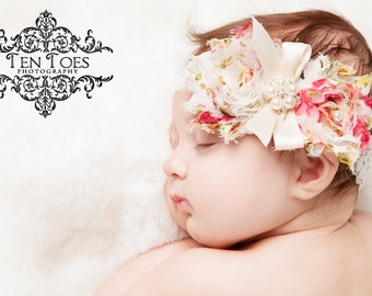 Baby Headband,Baby Flower Headband,Shabby Flower Headband,Infant Headband,Baby girl Headband,Girl Headband,Photo Prop,Sara Headband