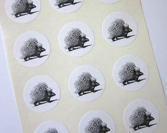Porcupine Woodland Stickers One Inch Round Seals