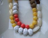 Bold Cream/Yellow/Brown Asymmetric Necklace