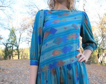 SASSAFRAS - Assymetrical 1970s 80s Secretary Dress Geometric Abstract Pattern Emerald Green Triangle Semi Sheer Leslie Fay Small
