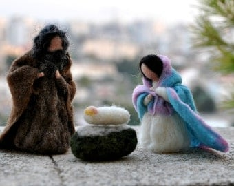 Needle felted Nativity Scene. Nativity Set 3 pieces. Waldorf Education//Holy Land/ .Needle felt by Daria Lvovsky