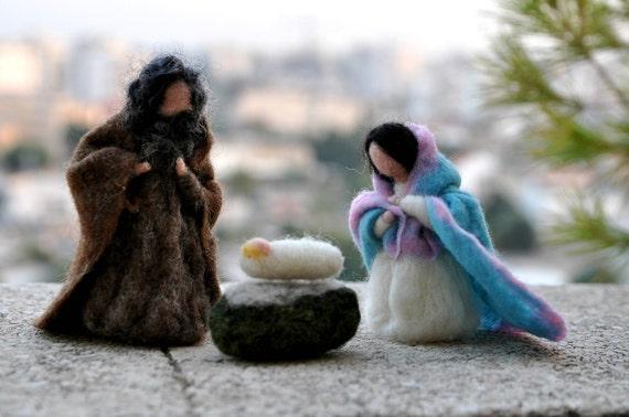 Needle felted Nativity Scene. Nativity Set 3 pieces. Waldorf Education//Holy Land/ .Needle felt by Daria Lvovsky