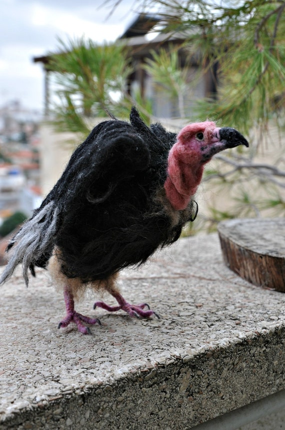 Needle Felted  Bird. Red Headed Vulture. Made to order