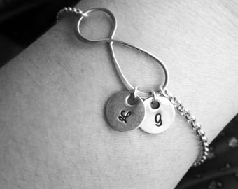 Hand Stamped Jewelry - Personalized Charm Bracelet - Eternity Bracelet with Initials