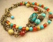 Natural Turquoise Multi Layer Chain Bracelet, Antique Brass, Filigree, Earhy Red Carnelian Gemstone