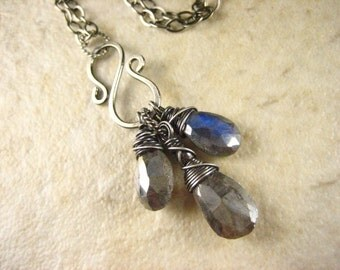Labradorite gemstone Sterling Silver Charm Necklace Minimal Simple gemstone jewelry mystic
