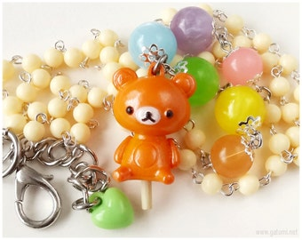 Sweet Lolita, Rilakkuma Necklace, Beaded Rosary Chain, Pastel Rainbow - Kawaii Jewelry, Fairy Kei