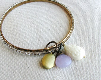 Lavender Stone Bangle Bracelets Upcycled Vintage Metal Charm Bracelets Pale Purple Briolette Locket Charm Acrylic Teardrop Bead Bracelets
