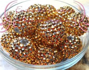 20mm Gold Rhinestone Beads Qty 8