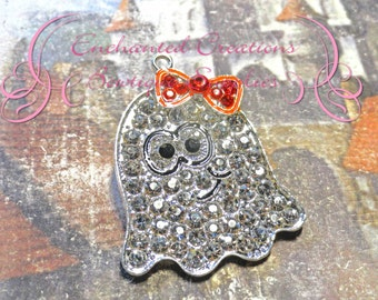 "2"" Sparkly Halloween Girly Ghost Pendant With Orange Bow"