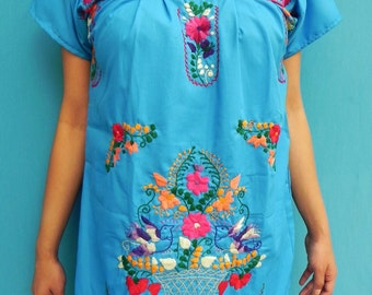 Mexican Blue Mini Dress Colorful Embroidered Handmade Very Comfortable Fine and Elegant Small