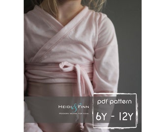 Ballet Sweater pattern and tutorial 6y-12y PDF pattern girl modern shrug, wrap bolero dance