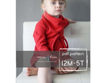 Cowl Neck Jumper Dress and sweater pattern  PDF 12m-5T easy sew  tunic dress sweater
