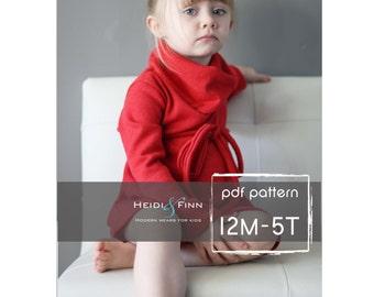 Cowl Neck Pullover Kleid und Pullover Muster PDF 12m-5 t einfach Nähen Tunika Kleid Pullover