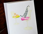 Pets and Famous Furniture Boxed Notes - Cats on Tulip Chairs Set of 8