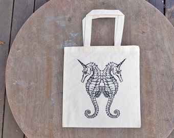 Sea horse Tote Bag / Sea Unicorn Design / Steam Punk Natural Color Tote Bag