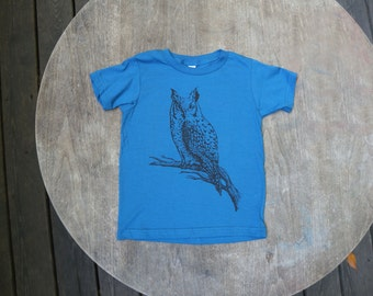 Great Horned Owl T-Shirt Organic American Apparel / Boho Kids Galaxy Blue Tee for Kids