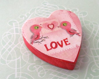 LOVE Birds Magnet - Things to do list holder - Love Birds Magnetic Memo Board - Refrigerator Magnet