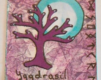 ACEO Handmade Original Tree of Life Plum Teal Blue