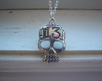 Skull Necklace  - Day Of The Dead Necklace - Lucky 13 Necklace