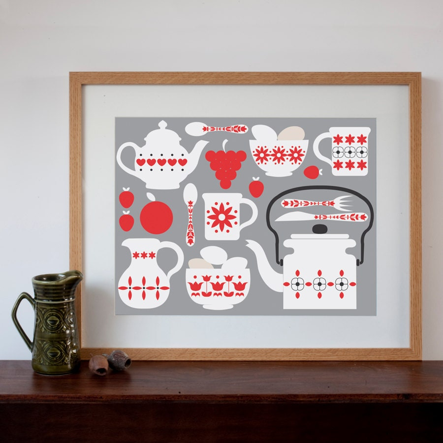 retro kitchen design print by natalieasingh on etsy