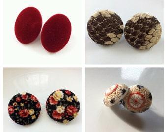 Large Vintage Red Velour / Snake Skin / Floral / Mosaic - Earrings
