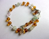 Balancing & Clearing Rainbow Fluorite and Recycled Amber Infant to Child Adjustable Anklet or Bracelet, Reiki Charged