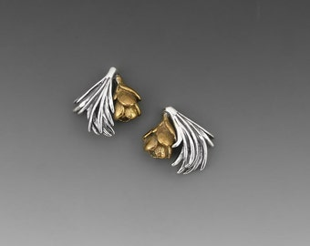 Tamarack Sterling Silver and Bronze Post Earrings