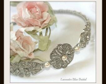 Side tiara, Vintage style rhinestone and Swarovski pearl side tiara, Diamante and pearl wedding headpiece, Bridal headpiece