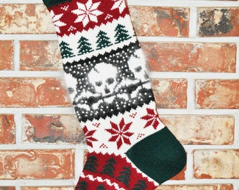 Personalized Knit Christmas Stocking, Wool & Angora - Skull