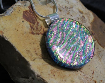 Pink Gold Dichroic Glass Pendant -  Dichroic Fused Glass Necklace - Round Dichroic Fused Glass Jewelry - Fused Glass Necklace - Pink Gold
