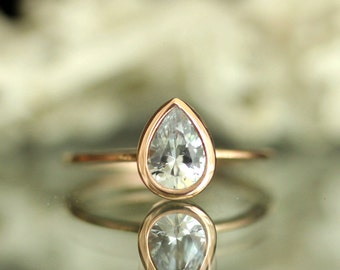 White Sapphire 14K Rose Gold Engagement Ring, Stacking RIng, Gemstone Ring - Made To Order