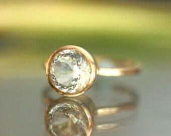 White Topaz 14K Gold Engagement Ring, Gemstone Ring, Stacking RIng, Protuguese Cut, April Birthstone - Made to Order