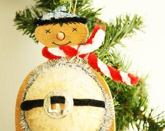 Snowman Christmas Ornament - Vintage Holiday Decoration - Upcycled Tree Ornament - Vintage Christmas Decor