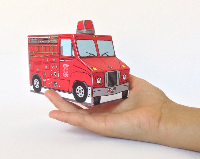 Firetruck Birthday Party MINI Favor Box - Fireman Sam birthday, baby shower, gift card box-Instant Download D.I.Y. Printable PDF