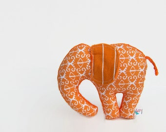 Orange Stuffed Elephant Plush Ikat Animal