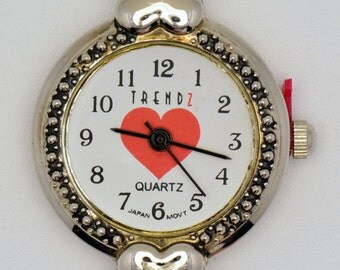 Red Heart Watch Face | Round Watch Face | Ladies Watch Face | Unique Watch Face | Beading Watch Face | Womens Watch Face - WF00068
