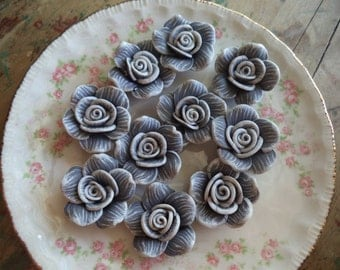 10 Polymer Clay Rose Beads