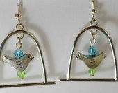 Fashion Earrings with Birdcage Charm and Blue and Green Faceted Crystals