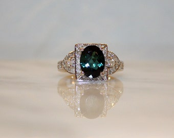 14K White Gold, Natural 3.50ct. Chrome Green Tourmaline and .65 ct. Diamond Engagement Ring, Free Appraisal Included