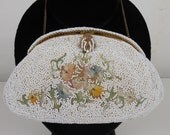 All Original Vintage Antique Estate Made In France 1900's to 1920's White Beaded & Embroidered Purse