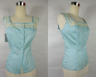 1950's Vintage Blue Deadstock Dazzle Cotton Blouse Large