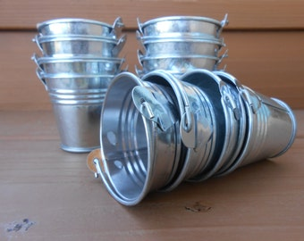 24 Mini Silver Tin Metal Pails, Favor Size, DIY Weddings, Rustic Buckets, Fun Containers For Your Treats, Succulents